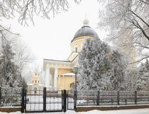 GOMEL, BIELORRUSIA - 23 DE ENERO DE 2018: Peter y Paul Cathedral en la ciudad parquean en helada helada Imágenes de archivo libres de regalías