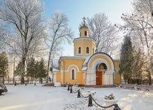 GOMEL, BIELORRUSIA - 23 DE ENERO DE 2018: Peter y Paul Cathedral en la ciudad parquean en helada helada Imagen de archivo libre de regalías
