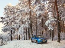 Gomel, Bielorrusia - 24 de enero de 2018: un coche azul parqueó en el bosque del invierno Imagen de archivo