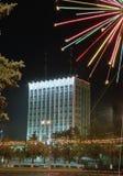 Gomel, Bielorrusia, el 29 de diciembre de 2006: Árbol de abeto de la Navidad en el cuadrado de Lenin Imagen de archivo