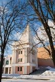 Gomel, Bielorrusia, el 26 de enero de 2006: Torre del palacio del conjunto de Rumyantsev-Paskevich, del palacio y del parque, pai Imágenes de archivo libres de regalías