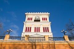 Gomel, Bielorrusia, el 26 de enero de 2006: Torre del palacio del conjunto de Rumyantsev-Paskevich, del palacio y del parque, pai Foto de archivo