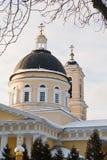 Gomel, Bielorrusia, el 26 de enero de 2006: Torre del palacio del conjunto de Rumyantsev-Paskevich, del palacio y del parque, pai Fotos de archivo