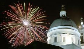 Gomel, Bielorrusia, el 9 de mayo de 2006: Saludo sobre Peter y Paul Cathedral Imagen de archivo libre de regalías