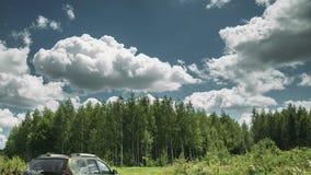 Gomel, Bielorrusia - Junly 5, 2018: Renault Duster SUV en paisaje del bosque del verano Plumero producido en común por el francés almacen de video