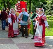 Gomel, City of Masters event. Speech of amateur ensemble. GOMEL, BELARUS - MAY 16, 2014: Outdoor events City of Masters. Speech of amateur ensemble in national royalty free stock photography