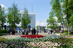 Gomel, de lentepark, toegang tot het Vierkant van Lenin Stock Foto
