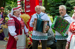 Gomel, event City of Masters. Speech of amateur ensemble. GOMEL, BELARUS - MAY 16, 2014: event City of Masters. Speech of amateur ensemble stock photo