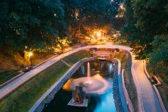Gomel, Homiel, Wit-Rusland Toneelmening van het Kanaal van de Parkwaterloop Royalty-vrije Stock Foto's