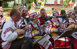 Gomel, outdoor events City of Masters. Speech of amateur ensembl. GOMEL, BELARUS - MAY 22, 2015: Outdoor events City of Masters. Speech of amateur ensemble royalty free stock photo