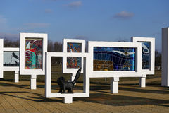 Gomel region, Zhlobin district, RED BEACH VILLAGE, Belarus - March 16, 2016: Memorial complex in Red Beach Royalty Free Stock Photos