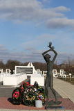 Gomel region, Zhlobin district, RED BEACH VILLAGE, Belarus - March 16, 2016: Memorial complex in Red Beach Royalty Free Stock Photo