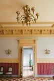 Gomel region, Zhlobin område, RÖD BANK för BY, Vitryssland - mars 16, 2016: Det Gatovsky säterit är en monument av slottarkitektu Arkivbild