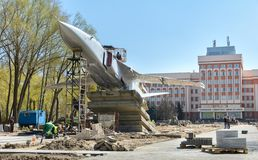 In Gomel, the Su-24 was installed. The monument stands on Rechitsky Avenue in front of the main building of the Technical royalty free stock image