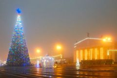 Gomel, Belarus - December 28, 2017: New Year`s illumination in the main square of the city. Small architectural forms.
