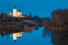 Gomel Vitryssland Kyrka av St Nicholas The Wonderworker In Lighting Royaltyfri Bild