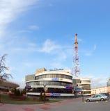 Gomel Vitryssland - mars 29, 2016 Alexandrov för affärsmitt Plaza Televisiontorn Sovetskaya royaltyfri fotografi