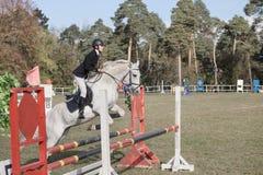 Gomel Vitryssland - Oktober 16, 2016: OS:er för kombinerat nordiskt Hoppa upp till 115 cm Royaltyfri Foto