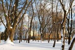Gomel, Weißrussland, am 26. Januar 2006: Turm des Palastes Ensembles Rumyantsev-Paskevich, des Palastes und des Parks, Winterland Stockbild