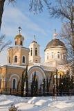 Gomel, Weißrussland, am 26. Januar 2006: Turm des Palastes Ensembles Rumyantsev-Paskevich, des Palastes und des Parks, Winterland Lizenzfreie Stockfotografie