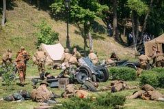 Gomel Weißrussland Russischer Sowjet, Wehrmacht-Soldaten, Reenactors an Stockbild