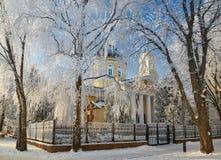 GOMEL, WEISSRUSSLAND - 23. JANUAR 2018: Peter und Paul Cathedral in der Stadt parken im eisigen Frost Lizenzfreie Stockbilder
