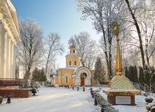 GOMEL, WEISSRUSSLAND - 23. JANUAR 2018: Peter und Paul Cathedral in der Stadt parken im eisigen Frost Lizenzfreie Stockfotografie