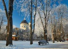 GOMEL, WEISSRUSSLAND - 23. JANUAR 2018: Peter und Paul Cathedral in der Stadt parken im eisigen Frost Lizenzfreies Stockbild