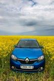 GOMEL, WEISSRUSSLAND - 24. Mai 2017: das blaue Auto wird auf dem Rapssamenfeld geparkt Stockbild