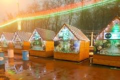 Gomel, Wit-Rusland - December 28, 2017: Nieuwjaar` s verlichting in het belangrijkste vierkant van de stad Kleine architecturale  Stock Fotografie