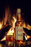GOMEL, WIT-RUSLAND - Februari 5, 2011: alcoholische producten van de Gomel-distilleerderij op de achtergrond van de open haard Royalty-vrije Stock Foto