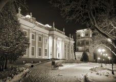 Gomel, Wit-Rusland, 26 Januari, 2006: Toren van Paleis van rumyantsev-Paskevich, paleis en parkensemble, de winterlandschap Royalty-vrije Stock Afbeeldingen