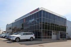 Gomel, Wit-Rusland - Juni 3, 2015: De officiële handelaar van Nissan - Motoren Autoworld, straat Khatayevich 32, Royalty-vrije Stock Foto
