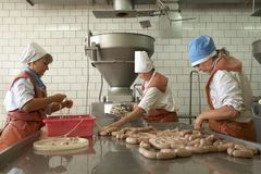 GOMEL, WIT-RUSLAND - September 22, 2011: De installatie van de vleesverwerking Verwerking van varkensvlees en rundvlees Machines, royalty-vrije stock afbeelding