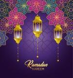 Gometric blommor med lampor som hänger till ramadan kareem vektor illustrationer