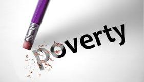 Gomma che cancella la povertà di parola Fotografia Stock