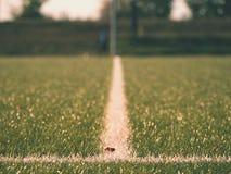 Gomma cruda del tappeto erboso di calcio di inverno Vista del primo piano del campo di erba artificiale sul campo da giuoco di ca Immagine Stock