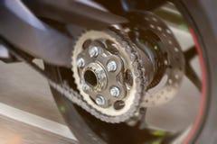 Gomma del motociclo nel comporre di velocità massima immagini stock