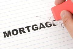 Gomme à effacer et hypothèque de mot Image stock