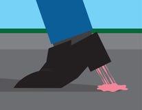 Gomme coincée à la chaussure illustration stock