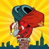 Gomme di inverno dell'automobile Santa Claus con i regali scala nel camino royalty illustrazione gratis