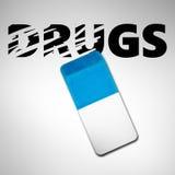 Gomme effaçant le mot DROGUES Photo stock