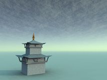 Gompa on Jade Surreal. Gompa in a surreal jade enviroment Royalty Free Stock Images