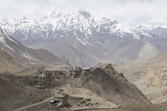 Gompa or Monastry in Jharkot, Mustang district, Nepal. This photo was shot in the morning. This route is the part of Annapurna Circuit trail Stock Images
