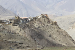 Gompa or Monastry in Jharkot, Mustang district, Nepal. This photo was shot in the morning. This route is the part of Annapurna Circuit trail Royalty Free Stock Image