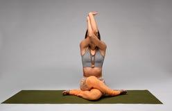 Gomukhasana yoga pose Stock Image