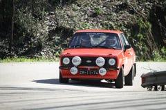 Goncalo Figueiroa conduce un Ford Escort 1600 imagen de archivo