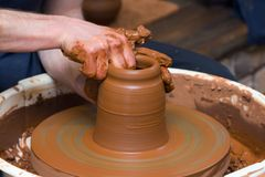 Gonchar makes pottery Royalty Free Stock Images