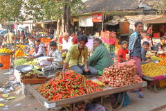 GONDAL, GUJARAT, ÍNDIA - 24 DE DEZEMBRO DE 2013: Dando boas-vindas à atmosfera em um mercado do alimento Foto de Stock