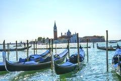 Gondalas San Giorgio Maggiore Church Grand Canal Boats Venice It. Gondolas San Giorgio Maggiore Church Grand Canal Boats Venice Italy.  16th Century Benedictine Royalty Free Stock Image